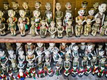 Traditional water puppet dolls in Hanoi, Vietnam. Rows of traditional water puppet dolls in Hanoi, Vietnam Royalty Free Stock Image