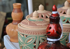 Traditional water storage containers a.k.a. Labu Sayong in Malay made from clay Stock Photography