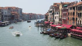 Traditional Water Taxi on Grand Canal, Venice Stock Image