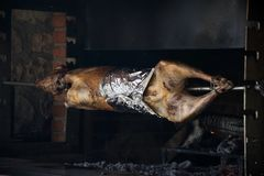 Traditional way of cooking a whole animal - roasting an over low heat. Traditional way of cooking a whole animal stock photos