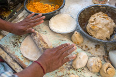 Traditional way of making indian parantha Stock Images