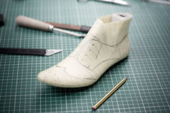 Traditional way of making a shoe. Essential tools for a Cobbler or Shoe Maker, Folding Hammer, Shoe Lasts, Knives, Awl and Scissors Royalty Free Stock Photography