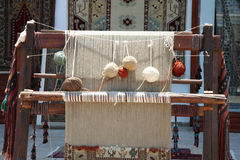 Traditional weaver in Kusadasi, Turkey. A traditional weaver at display in the Turkish resort of Kusadasi Stock Photography