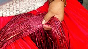 Traditional weaving of ecuadorian Panama Hat or Paja  Toquilla Straw Hats. UNESCO Intangible Cultural Heritage of Humanity royalty free stock image