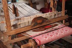 Traditional weaving loom. For carpets in Romania Stock Photos