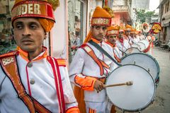 Traditional wedding band in Jaipur, Rajasthan, India. Royalty Free Stock Photos