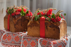 The traditional wedding bread decorated with a cranberry. Stock Photo