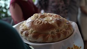 Traditional wedding bread stock video footage