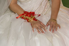 Traditional wedding bride gold jewelery close up Stock Photography