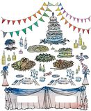 Traditional wedding cake serving table. Image of a richly decorated table for a traditional wedding cake, drinks and food, gifts and flowers, sketched vector Stock Photos