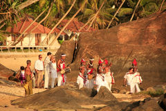 Traditional wedding ceremony on a beach, Unawatuna, Sri Lanka Stock Photography
