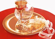 Traditional wedding crowns, decanter and chalice - greek wedding objects royalty free stock image