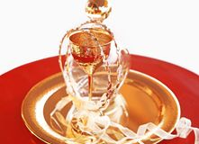 Traditional wedding crowns, decanter and chalice - greek wedding objects stock photos