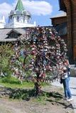 Traditional wedding locks on metallic tree in Moscow Stock Photo