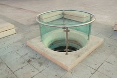 Traditional well. Well in Vodice. Tourists give money for lucky stock image