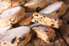 Traditional Welsh cakes with raisins and powdered sugar macro. H Royalty Free Stock Images