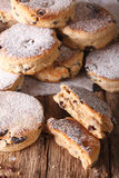 Traditional Welsh cakes with raisins and powdered sugar macro. v Royalty Free Stock Photos