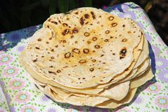 Traditional wheat Armenian lavash bread, flatbread on a plate stock photography