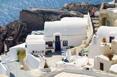 Traditional white architecture on cliffs of Santorini island, Greece Royalty Free Stock Photography