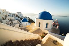 Traditional White Architecture at Sunrise in Oia on Santorini Island Stock Photo