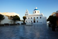 Traditional White Architecture at Sunrise in Oia on Santorini Island Royalty Free Stock Photos