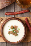 Traditional white beer cream soup with dill Stock Image