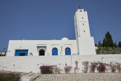 Traditional white and blue building against clear sky, Tunis, Tunisia Stock Images