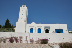 Traditional white and blue building against clear sky, Tunis, Tunisia Royalty Free Stock Image