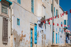 Traditional white-blue house from kairouan, Tunis Royalty Free Stock Photos