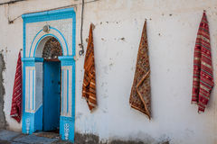 Traditional white-blue house from kairouan, Tunis Royalty Free Stock Photography