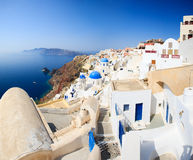 Traditional white and blue village in Santorini Stock Photo