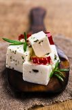 Traditional white cheese slices. In oil with spices. Selective focus Royalty Free Stock Photos