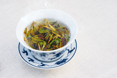 Traditional white chinese tea on white table, text space Royalty Free Stock Photos