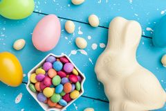 Traditional white chocolate Easter holiday bunny stock photos