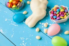 Traditional white chocolate Easter holiday bunny royalty free stock photography