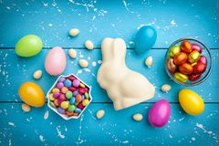 Traditional white chocolate Easter holiday bunny stock photography