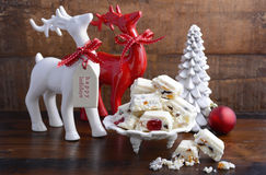 Traditional White Christmas candy. Royalty Free Stock Images