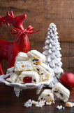 Traditional White Christmas candy. Stock Photos
