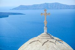 Traditional white church with a cross on the dome Royalty Free Stock Photography