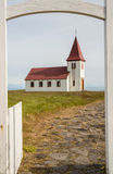 Traditional white church in Iceland Royalty Free Stock Photos