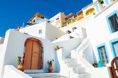 Traditional white cycladic architecture on Santorini island, Greece.  stock image