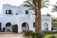 Traditional white egyptian architecture in Hurghada. Harbor Royalty Free Stock Photo