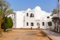 Traditional white egyptian architecture in Hurghada. Harbor Stock Photos