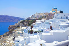 Traditional white houses on Santorini island Stock Photo