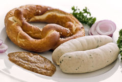 Traditional white sausage breakfast Stock Photos