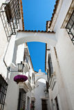 Traditional White Spanish Buildings and Blue Sky Stock Photo