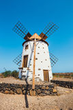 Traditional white stony windmill at Fuertaventura Royalty Free Stock Images