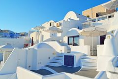 Traditional white villas Santorini village Cyclades Greece Stock Photos