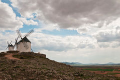 Traditional white windmills in Consuegra, Spain Royalty Free Stock Images