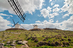 Traditional white windmills in Consuegra, Spain Royalty Free Stock Photography